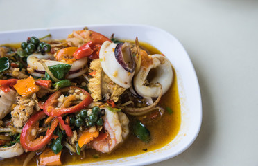 Stir Fried Seafood on Hot Plate