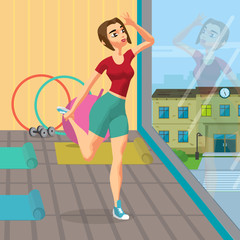 Woman doing gymnastic exercises in the gym. Girl in sportswear doing stretching leg. Flat cartoon vector illustration