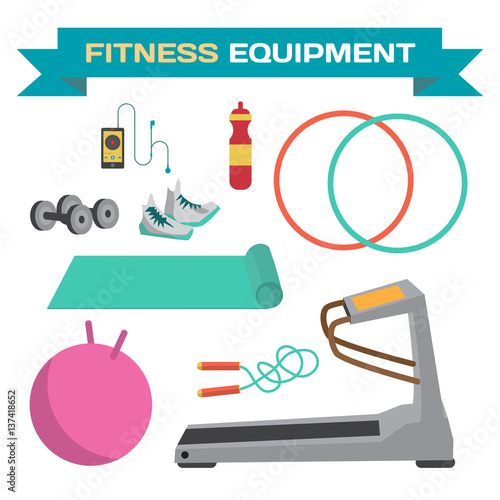 """Sport And Fitness Equipment. The Treadmill, Yoga Mat"