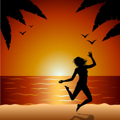 Silhouette Of A Girl, Jumping, Excited, Seaside, Sunset