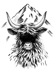 Bull and mountain