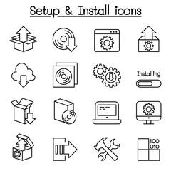 Setup, configuration, maintenance & Installation icon set in thin line style
