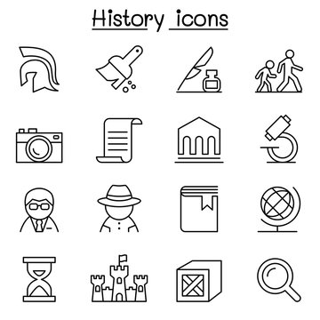 History & archeology icon set in thin line style