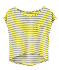 Yellow striped fashion top isolated.