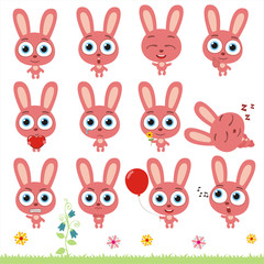 Big set cute little bunny rabbit. Collection isolated cartoon bunny rabbits in different poses.