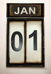 January 1 on vintage calendar