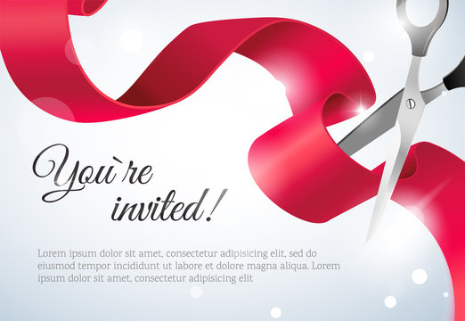 You are invited invitation card with curving ribbon and sparkling bokeh background. Grand opening concept. Vector illustration
