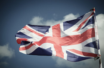 British Union Jack flag blowing in the wind.