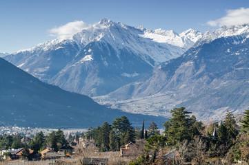 Sunny view of Dolomites near Merano, Trentino-Alto-Adige region, Italy.