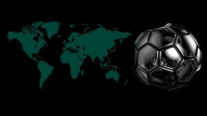 World Map and Soccer ball. 3D illustration. CG. High resolution.
