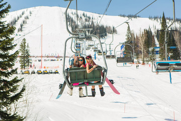 Two girls on a ski-lift