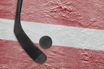 Latvian flag and hockey stick hockey