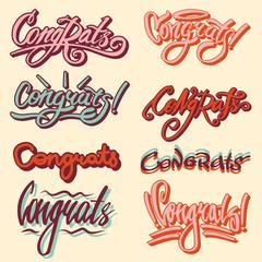 Congrats text writing or vector congratulation lettering