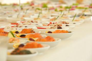 Appetizers. Catering. Salmon. Buffet. Orange
