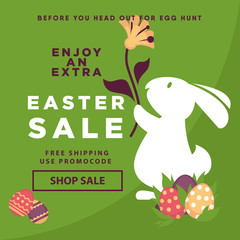 Easter sale web poster template of vector eggs and bunny rabbit