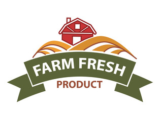 Farm field icon and ribbon for product store