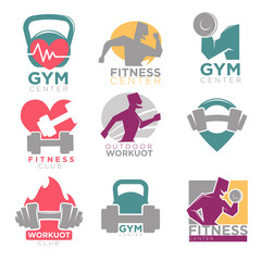 Gym and fitness club sport vector icons set
