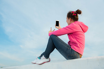 young women are beautiful selfie sky at sunset