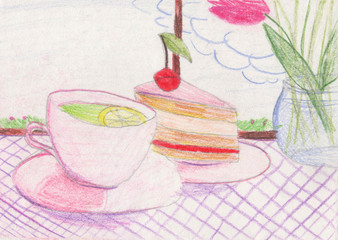 Hand drawn illustration of a cup of tea and a piece of cake with red cherry on the table.