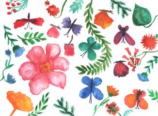Watercolor floral elements.