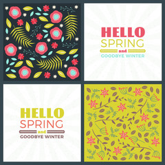 Spring holiday greeting card design. Vector floral greetings card or poster. Romantic labels with flowers pattern
