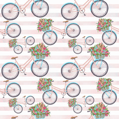 Bycicle Illustration Seamless Pattern Hand-Painted Background Texture Wallpaper Scrapbook