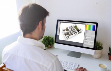 interior designer working with computer