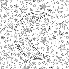 Contour image of moon crescent in starry sky. Zentangle inspired doodle style. Square composition.