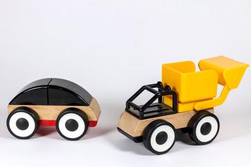 Aluminium Prints Cartoon cars Coches de madera