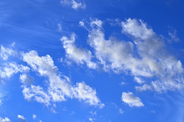 White clouds in the blue sky. Weather background