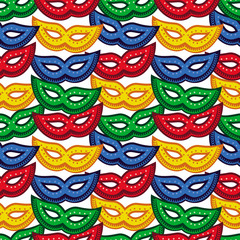 Seamless pattern with carnival masks. Raster clip art.