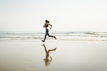 Running Exercise Training Healthy Lifestyle Beach Concept Wall mural