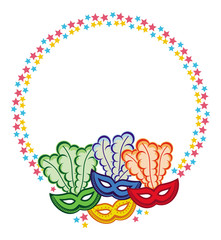 Color round frame with carnival masks. Raster clip art.