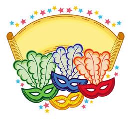 Color frame with carnival masks. Raster clip art.