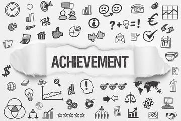 Achievement / weißes Papier mit Symbole