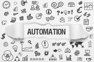 Automation / weißes Papier mit Symbole