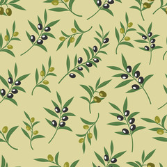Wall Mural - Olive vector seamless pattern with leaves, olives and branches. Texture for fabric or paper print