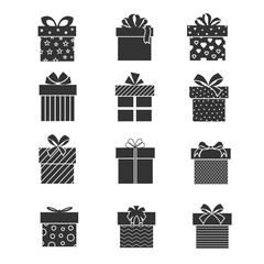 Wall Mural - Black gift box icons. Presents signs with ribbons and bows