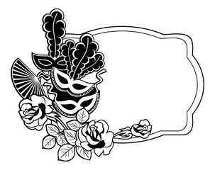 Silhouette label with carnival masks. Raster clip art.