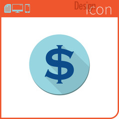Vector icon on white background. Designer trend. Dollar currency Icon, money. Currency exchange. For use on the Web site or application.