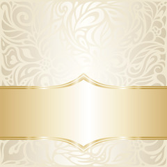 Floral wedding invitation wallpaper design in ecru & gold, with blank space