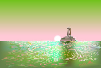 Abstract seascape for background with sunset and lighthouse, vector image.