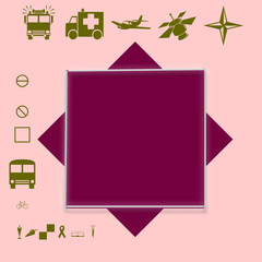 Two Purple squares on a pink background are accompanied by pictures.
