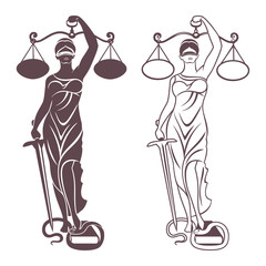 lady justice Themis/ Vector illustration silhouette of Themis statue holding scales balance and sword isolated on white background. Symbol of justice, law and order.