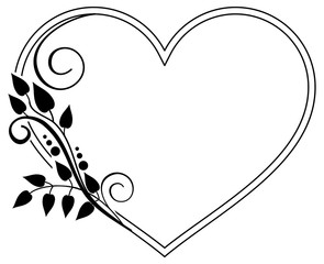 Heart-shaped black and white frame with floral silhouettes. Vector clip art.