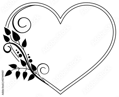 Heart-shaped black and white frame with floral silhouettes. Vector ...