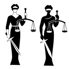 lady justice black/ Vector illustration of Themis statue holding scales balance and sword isolated on white background. Symbol of justice, law and order.