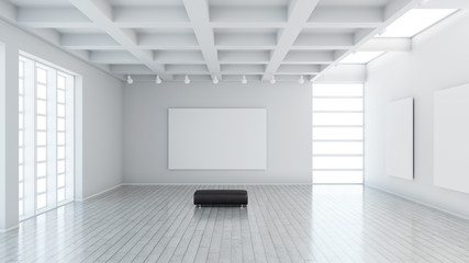 Modern museum with blank canvas and leather seat