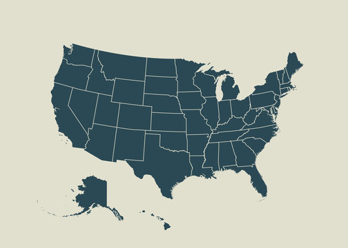 Outline map of USA.  vector illustration.