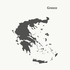 Outline map of Greece.  vector illustration.